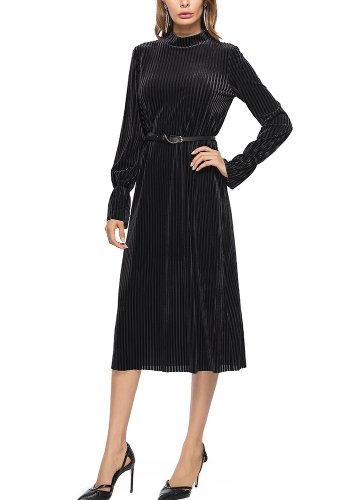 Women Velvet Dress Stripe Belt Flare Long Sleeves Midi A-Line DressesApparel &amp; Jewelry<br>Women Velvet Dress Stripe Belt Flare Long Sleeves Midi A-Line Dresses<br>