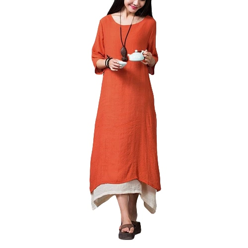 New Women Cotton Linen Vintage Dress Split Irregular Hem Casual Loose Boho Long Maxi Dresses Orange/Army Green/CoffeeApparel &amp; Jewelry<br>New Women Cotton Linen Vintage Dress Split Irregular Hem Casual Loose Boho Long Maxi Dresses Orange/Army Green/Coffee<br>