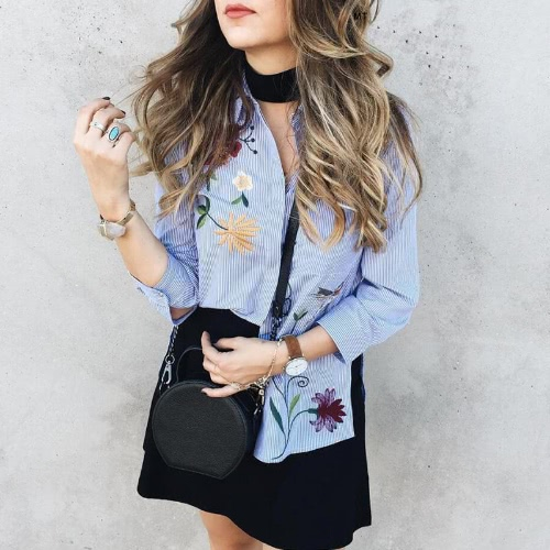 New Fashion Women Floral Embroidered Blouse 3/4 Sleeves Buttoned Stripe Shirt BlueApparel &amp; Jewelry<br>New Fashion Women Floral Embroidered Blouse 3/4 Sleeves Buttoned Stripe Shirt Blue<br>