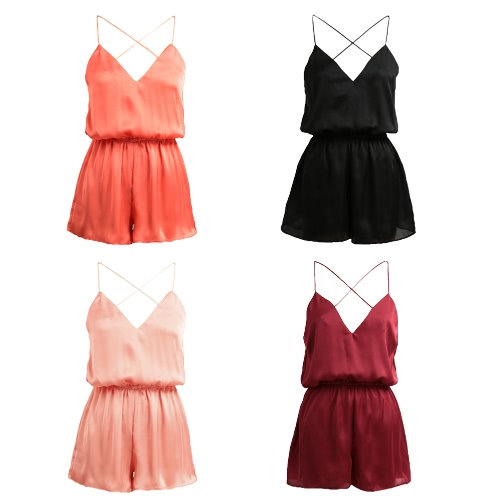 New Sexy Women Jumpsuit Deep V Neck Crisscross Spaghetti Strap Sleeveless Solid Culotte Playsuit RompersApparel &amp; Jewelry<br>New Sexy Women Jumpsuit Deep V Neck Crisscross Spaghetti Strap Sleeveless Solid Culotte Playsuit Rompers<br>