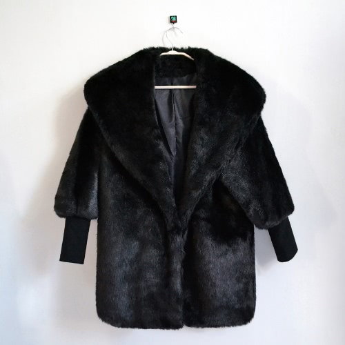 Women Faux Fur Coat Jacket Batwing Sleeves Raglan V Neck Furry Loose Casual Long Overcoat OutwearApparel &amp; Jewelry<br>Women Faux Fur Coat Jacket Batwing Sleeves Raglan V Neck Furry Loose Casual Long Overcoat Outwear<br>