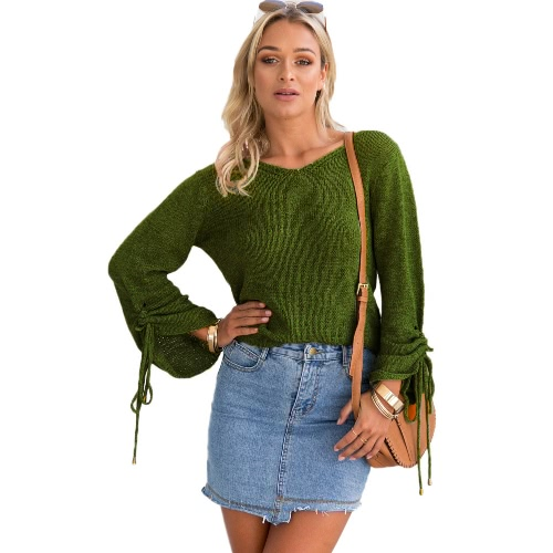 New Women Knitted Sweater Sexy V Neck Cold Shoulder Long Sleeve Casual Pullover Knitwear Black/GreenApparel &amp; Jewelry<br>New Women Knitted Sweater Sexy V Neck Cold Shoulder Long Sleeve Casual Pullover Knitwear Black/Green<br>