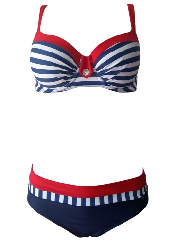 Women Bikini Set Swimwear Swimsuit Stripe Dot Print Contrast Push Up Underwire Padded Two Piece Bathing SuitApparel &amp; Jewelry<br>Women Bikini Set Swimwear Swimsuit Stripe Dot Print Contrast Push Up Underwire Padded Two Piece Bathing Suit<br>