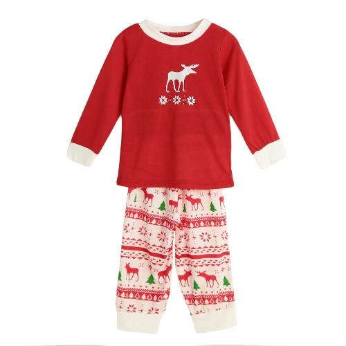 Nouveau Filles Garçons Enfants Deux-Piece Set pyjama de Noël de nuit O-Neck Manches longues Casual Maison Manteau Enfant Top Red Pants