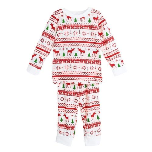 Nouveau Filles Garçons Enfants Deux-pièces pyjama de Noël de nuit O-Neck Manches longues Casual Maison Coat Pantalon blanc
