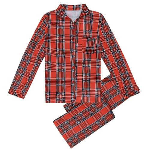 Famille Filles Garçons Enfants Pyjama Set Plaid Manches Longues Vêtements de Nuit Costumes Maison Porter Enfant Haut Pantalon Long