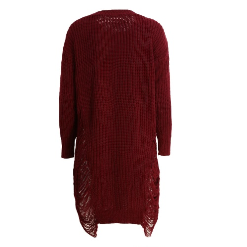 Fashion Women Ripped Knitted Sweater Dress O Neck Long Sleeve Destroyed Irregular Oversized Pullover KnitwearApparel &amp; Jewelry<br>Fashion Women Ripped Knitted Sweater Dress O Neck Long Sleeve Destroyed Irregular Oversized Pullover Knitwear<br>