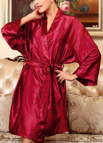 Women Silk Satin Night Robe Bathrobe Short Kimono Dressing Gown Nightgown SleepwearApparel &amp; Jewelry<br>Women Silk Satin Night Robe Bathrobe Short Kimono Dressing Gown Nightgown Sleepwear<br>