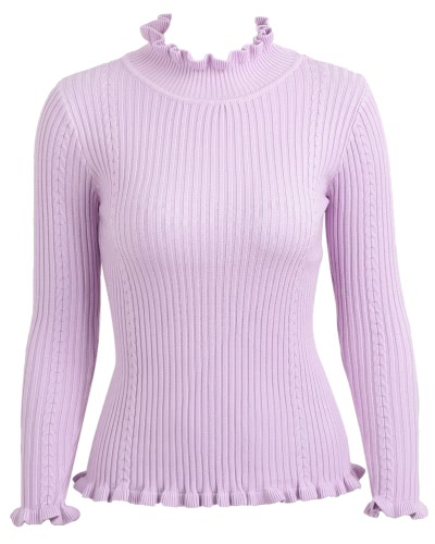 Women Ribbed Knitted Pullover Sweaters Turtle Neck Ruffles Solid Slim Stretchy Jumpers Knitting TopApparel &amp; Jewelry<br>Women Ribbed Knitted Pullover Sweaters Turtle Neck Ruffles Solid Slim Stretchy Jumpers Knitting Top<br>