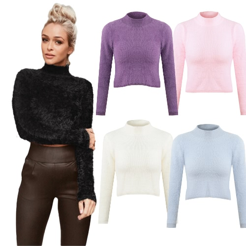 New Fashion Women Knitted Fluffy Sweater Jumper Crop Top Turtle Neck Long Sleeve Mohair Slim Pullover KnitwearApparel &amp; Jewelry<br>New Fashion Women Knitted Fluffy Sweater Jumper Crop Top Turtle Neck Long Sleeve Mohair Slim Pullover Knitwear<br>