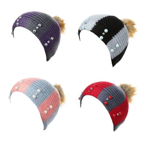New Women Winter Hat Beanie Knit Cap Contrast Stripe Pom Pom Bead Causal Slouchy Baggy SkulliesApparel &amp; Jewelry<br>New Women Winter Hat Beanie Knit Cap Contrast Stripe Pom Pom Bead Causal Slouchy Baggy Skullies<br>