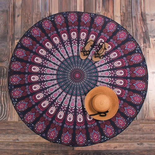 Women Round Beach Towel Bohemian Printed Tapestry Throw Yoga Mat Picnic Blanket Bathing SuitApparel &amp; Jewelry<br>Women Round Beach Towel Bohemian Printed Tapestry Throw Yoga Mat Picnic Blanket Bathing Suit<br>