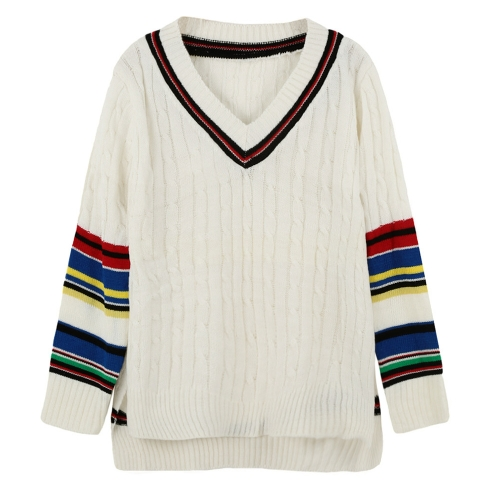 Chic Knitted Sweater with Contrast Stripe Slits V Neck High-low HemApparel &amp; Jewelry<br>Chic Knitted Sweater with Contrast Stripe Slits V Neck High-low Hem<br>
