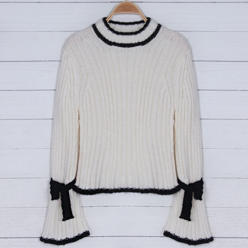 Women Sweater Pullovers Female Turtleneck Knitted Sweater Contrast Trim Flare Sleeve Tops Loose Casual Jumper WhiteApparel &amp; Jewelry<br>Women Sweater Pullovers Female Turtleneck Knitted Sweater Contrast Trim Flare Sleeve Tops Loose Casual Jumper White<br>