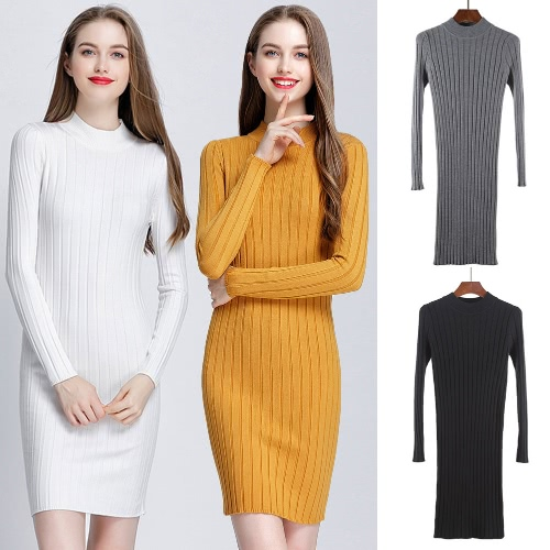 Winter Women Bodycon Knitted Dress O-Neck Long Sleeves Stretchy Elegant Slim Warm Pullover KnitwearApparel &amp; Jewelry<br>Winter Women Bodycon Knitted Dress O-Neck Long Sleeves Stretchy Elegant Slim Warm Pullover Knitwear<br>