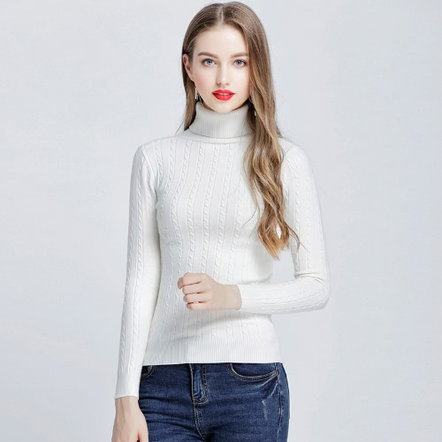 Fashion Women Twisted Turtleneck Long Sleeve Knitted Sweater Pullover High Elastic Solid Slim Bottoming Knitwear TopsApparel &amp; Jewelry<br>Fashion Women Twisted Turtleneck Long Sleeve Knitted Sweater Pullover High Elastic Solid Slim Bottoming Knitwear Tops<br>