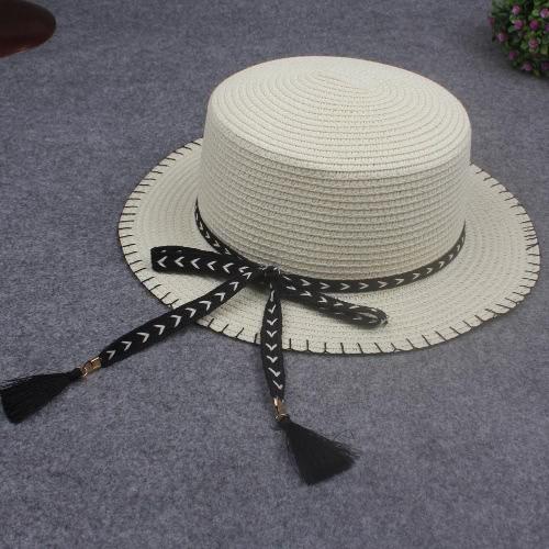 Women Summer Sun Straw Hat Removable Bow Tassel Adjustable Flat Summer Panama Beach Holiday CapApparel &amp; Jewelry<br>Women Summer Sun Straw Hat Removable Bow Tassel Adjustable Flat Summer Panama Beach Holiday Cap<br>