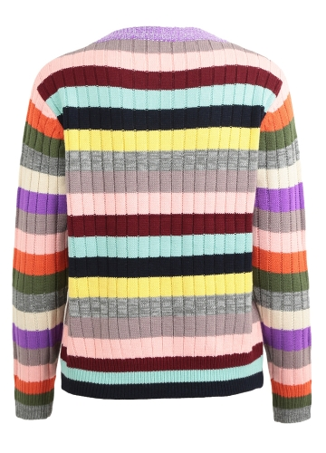 New Women Knitted Sweater Rainbow Stripes Contrast Color Long Sleeve Casual Warm Jumper Pullover Knitwear Pink/YellowApparel &amp; Jewelry<br>New Women Knitted Sweater Rainbow Stripes Contrast Color Long Sleeve Casual Warm Jumper Pullover Knitwear Pink/Yellow<br>