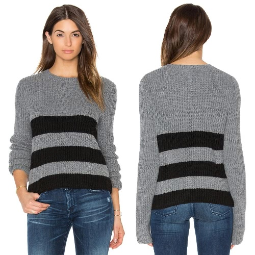 New Women Knitted Sweater Striped Color Block Long Sleeve Casual Warm Jumper Pullover Knitwear GreyApparel &amp; Jewelry<br>New Women Knitted Sweater Striped Color Block Long Sleeve Casual Warm Jumper Pullover Knitwear Grey<br>