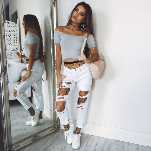 New Sexy Women Off Shoulder Knitted Short Sleeve Sweater Slash Neck Mohair Slim Crop Top Pullover KnitwearApparel &amp; Jewelry<br>New Sexy Women Off Shoulder Knitted Short Sleeve Sweater Slash Neck Mohair Slim Crop Top Pullover Knitwear<br>