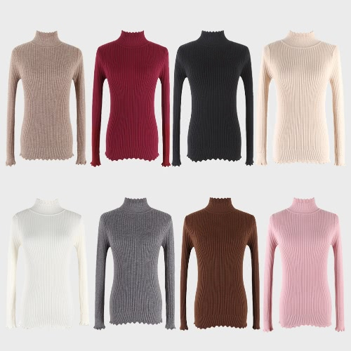 New Women Knitted Sweater Turtleneck Long Sleeve Slim Wave Solid Pullover Bottoming Basic Knitwear TopApparel &amp; Jewelry<br>New Women Knitted Sweater Turtleneck Long Sleeve Slim Wave Solid Pullover Bottoming Basic Knitwear Top<br>