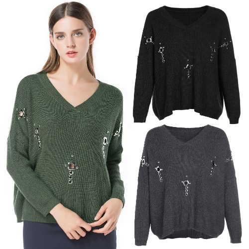 Autumn Solid Elegant Women Sweater Hollow Out Knitted Top Long Sleeve Loose Casual Pullover Winter Jumper Dark Grey/Black/GreenApparel &amp; Jewelry<br>Autumn Solid Elegant Women Sweater Hollow Out Knitted Top Long Sleeve Loose Casual Pullover Winter Jumper Dark Grey/Black/Green<br>