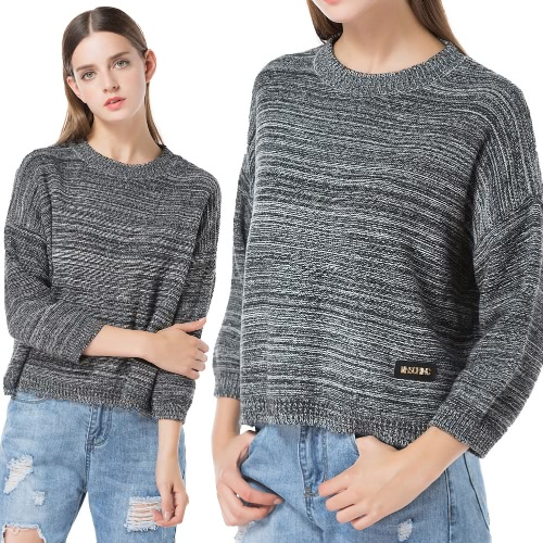 Women Loose Knitted Pull Over Striped Sweater Dropped Shoulder Long Sleeve Casual Knit TopApparel &amp; Jewelry<br>Women Loose Knitted Pull Over Striped Sweater Dropped Shoulder Long Sleeve Casual Knit Top<br>