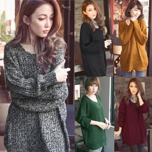 New Women Knitted Sweater Solid Color Batwing Long Sleeve Loose Warm Jumper Coat Pullover KnitwearApparel &amp; Jewelry<br>New Women Knitted Sweater Solid Color Batwing Long Sleeve Loose Warm Jumper Coat Pullover Knitwear<br>