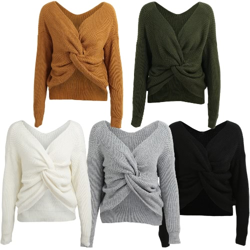 Women Loose Knitted Pullovers V Neck Back Bow Long Sleeves Dropped Shoulder Cross Casual Knit Jumper TopApparel &amp; Jewelry<br>Women Loose Knitted Pullovers V Neck Back Bow Long Sleeves Dropped Shoulder Cross Casual Knit Jumper Top<br>