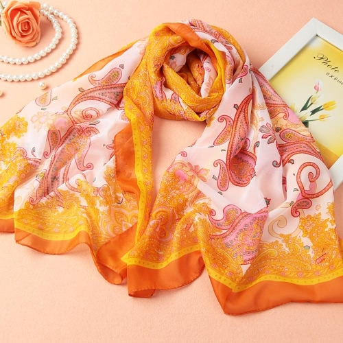 New Women Chiffon Scarf Floral Print Contrast Color Long Thin Pashmina Vintage Silk ShawlApparel &amp; Jewelry<br>New Women Chiffon Scarf Floral Print Contrast Color Long Thin Pashmina Vintage Silk Shawl<br>