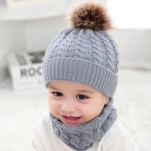 2pcs criança miúdos chapéus bebê círculo laço cachecol pescoço mais quente