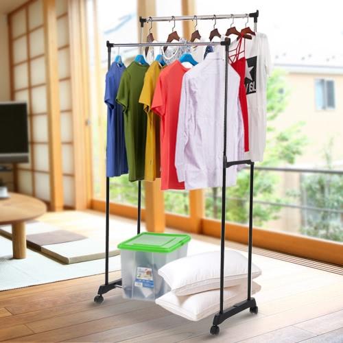 إكايا ميتل تعديل مزدوج السكك الحديدية الملابس اللباس اللباس شنقا رف عرض ساتند المنظم على عجلات الأحذية الرف الثقيلة