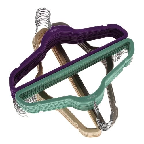 Homgeek Brand New Non-slip Velvet Clothes Hanger Suit/Shirt/Pants Clothes Rack Coat Hangers 60PCS Grey Blue-green Khaki PurpleHome &amp; Garden<br>Homgeek Brand New Non-slip Velvet Clothes Hanger Suit/Shirt/Pants Clothes Rack Coat Hangers 60PCS Grey Blue-green Khaki Purple<br>