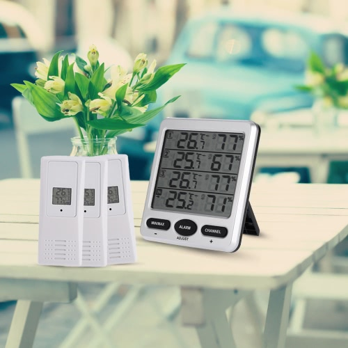 LCD Digital 433MHz Wireless 8-Channel Indoor/Outdoor Thermo-hygrometer with Three Remote Sensors Thermometer Hygrometer Comfort LeHome &amp; Garden<br>LCD Digital 433MHz Wireless 8-Channel Indoor/Outdoor Thermo-hygrometer with Three Remote Sensors Thermometer Hygrometer Comfort Le<br>