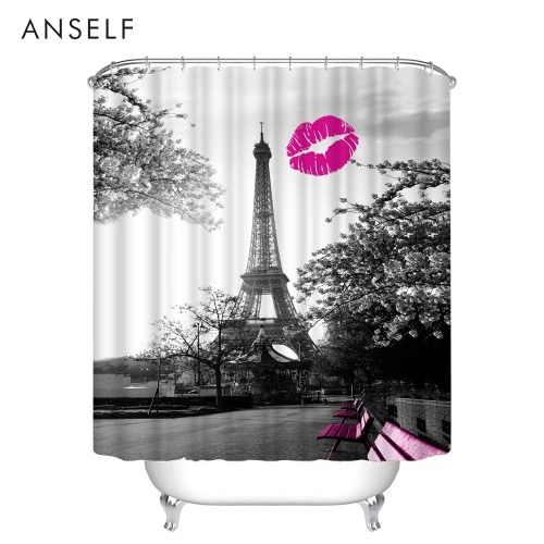 Anself Bathroom Waterproof Polyester Fabric Bath Curtains 3D Red Lip/Red Maple/Butterfly Eiffel Tower Design 180*180cm/180*200cm THome &amp; Garden<br>Anself Bathroom Waterproof Polyester Fabric Bath Curtains 3D Red Lip/Red Maple/Butterfly Eiffel Tower Design 180*180cm/180*200cm T<br>