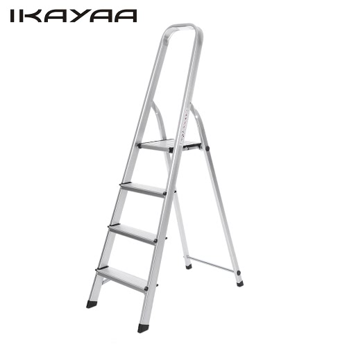 iKayaa Non-slip Folding 4 Step Ladder With Hand Grip Portable Aluminum Work Platform Step Stool 330LB/150KG Capacity EN131 Approved