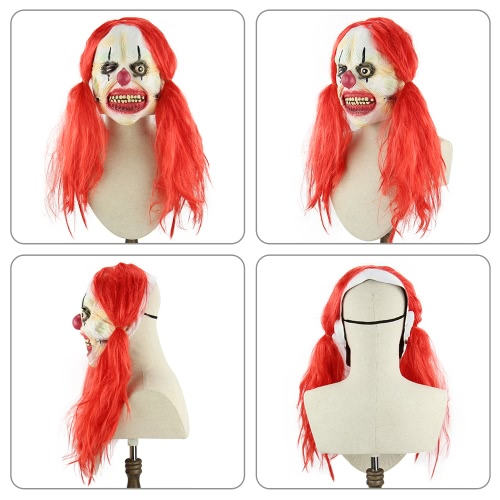 Latex Full Face Scary Toothy Clown Mask with Red Twin Tail Hair Elastic Tape for Halloween Masquerade CostumeHome &amp; Garden<br>Latex Full Face Scary Toothy Clown Mask with Red Twin Tail Hair Elastic Tape for Halloween Masquerade Costume<br>