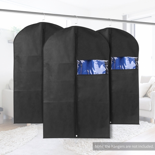 3pcs 60 * 100cm Non-Woven Dustproof Hanging Garment Bags Clothes Suit Organizers Covers with PVC Window Storage Bag for Closet TraHome &amp; Garden<br>3pcs 60 * 100cm Non-Woven Dustproof Hanging Garment Bags Clothes Suit Organizers Covers with PVC Window Storage Bag for Closet Tra<br>