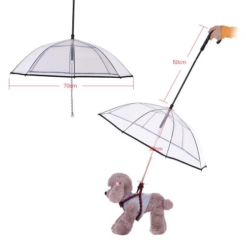 Transparent Pet Dog Umbrella with Leash Dog Rain SuppliesHome &amp; Garden<br>Transparent Pet Dog Umbrella with Leash Dog Rain Supplies<br>
