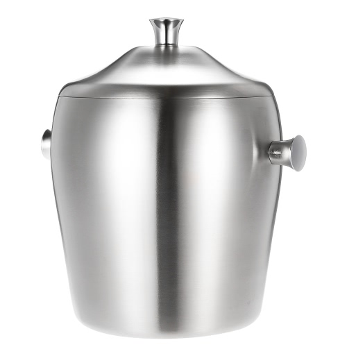 1L Luxury Good Quality Double-walled Ice Bucket Practical Stainless Steel Ice Bucket with LidHome &amp; Garden<br>1L Luxury Good Quality Double-walled Ice Bucket Practical Stainless Steel Ice Bucket with Lid<br>