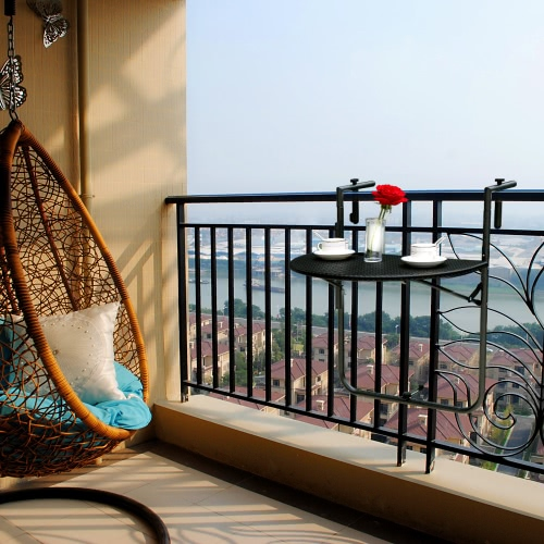 iKayaa Adjustable Folding Balcony Deck Table Hanging Patio Railing Coffee TableHome &amp; Garden<br>iKayaa Adjustable Folding Balcony Deck Table Hanging Patio Railing Coffee Table<br>