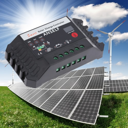 Anself 25A 12/24V Automatic Smart Solar Charge Controller PWM Panel Battery Regulator Temperature CompensationHome &amp; Garden<br>Anself 25A 12/24V Automatic Smart Solar Charge Controller PWM Panel Battery Regulator Temperature Compensation<br>