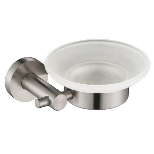 Homgeek de alta calidad montada en la pared del jabón del acero inoxidable del sostenedor del plato estante con el caso del vidrio esmerilado de la caja del producto Placa Baño Cocina