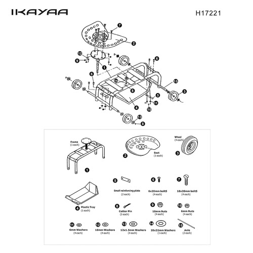 iKayaa Heavy-duty Steel Rolling Garden Cart Work Seat W/ Tool Tray 100KG Capacity Outdoor Garden Scooter W/ 360°Swivel for PlantinHome &amp; Garden<br>iKayaa Heavy-duty Steel Rolling Garden Cart Work Seat W/ Tool Tray 100KG Capacity Outdoor Garden Scooter W/ 360°Swivel for Plantin<br>