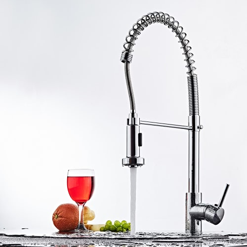 Homgeek Modern Contemporary Elegant Single Handle Kitchen Faucet Brass Polished Deck Mounted Basin Mixer Tap with Pull Out FlexiblHome &amp; Garden<br>Homgeek Modern Contemporary Elegant Single Handle Kitchen Faucet Brass Polished Deck Mounted Basin Mixer Tap with Pull Out Flexibl<br>