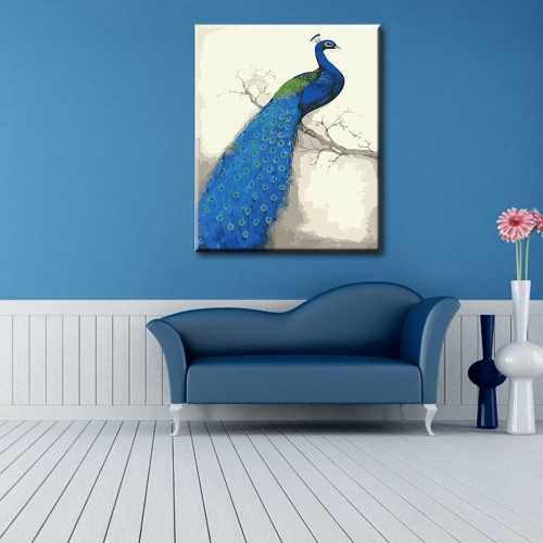 DIY Unframed Oil Painting by Numbers Kit Hand Painted Picture Handwork Acrylic Paint Blue Peacock Pattern Decoration for Home LiviHome &amp; Garden<br>DIY Unframed Oil Painting by Numbers Kit Hand Painted Picture Handwork Acrylic Paint Blue Peacock Pattern Decoration for Home Livi<br>