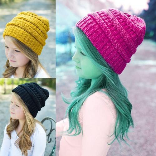 Fashion Men Women Kid Fall Winter Warm Unisex Elastic Head Skull Cap Knit Knitted Wool Crochet Beanie Ski Blank Color Hats