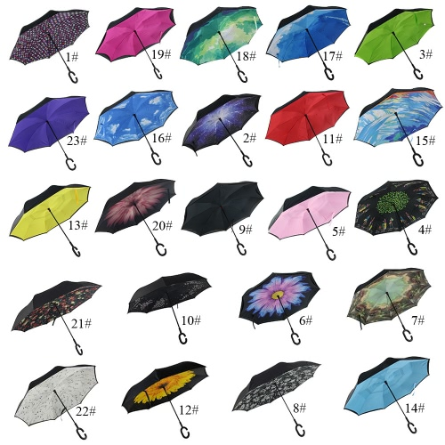 C-Handle Upside Down Reverse Inverted Windproof Rain Umbrella Double Layer Inside-OutHome &amp; Garden<br>C-Handle Upside Down Reverse Inverted Windproof Rain Umbrella Double Layer Inside-Out<br>