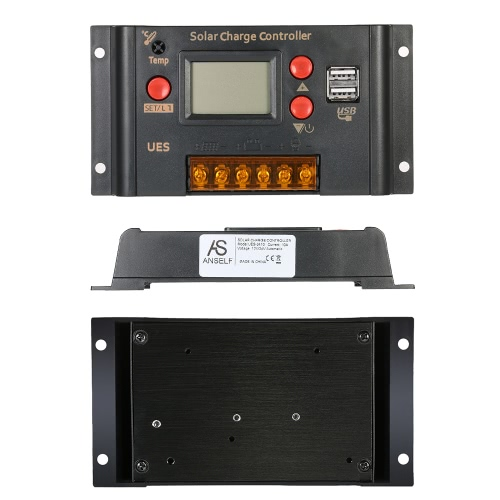 Anself 10A 12V 24V LCD Solar Charge Controller Panel Battery Regulator Auto Switch Dual USB 5V Output Overload ProtectionHome &amp; Garden<br>Anself 10A 12V 24V LCD Solar Charge Controller Panel Battery Regulator Auto Switch Dual USB 5V Output Overload Protection<br>