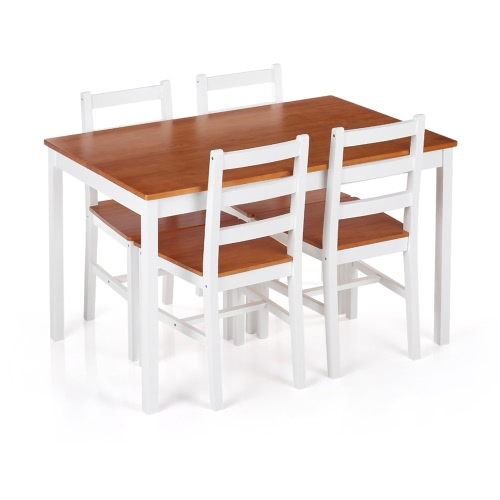 iKayaa Modern 5PCS Pine Wood Dining Table Set Kitchen Dinette Table with 4 Chairs 150KG Capacity Dark Brown/Honey+White Color